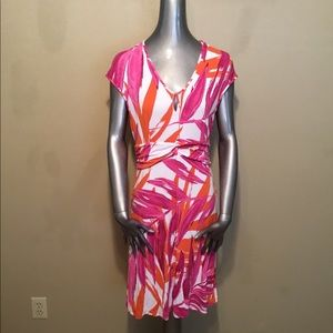 Tommy Bahama pink viscose tropical leaf dress